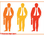 Businessman With Briefcase Silhouettes