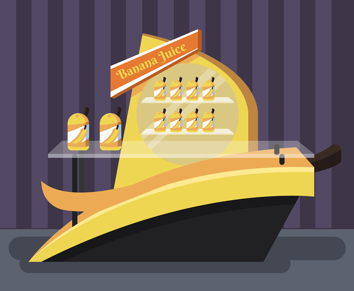 Banana Juice Product Display Vector