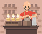 Barista in Red Shirt Vector