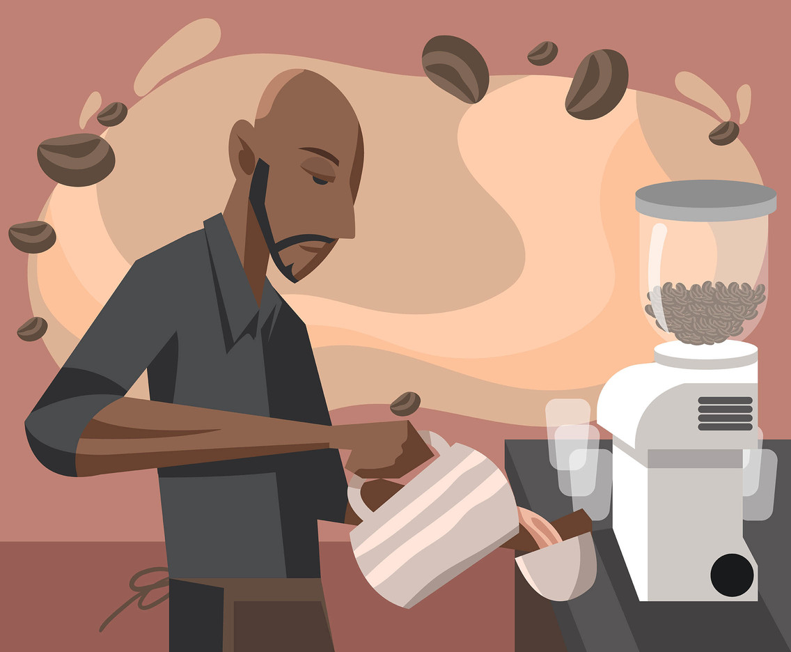 Barista in Gray Shirt Vector