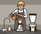 Barista in Brown Apron Vector