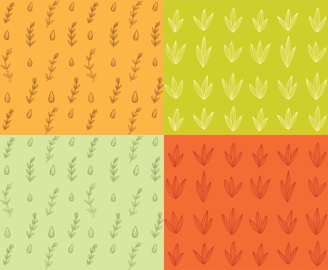 Modern Leaves Hand Drawn Vector Pattern