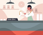 Barista in White Shirt Vector