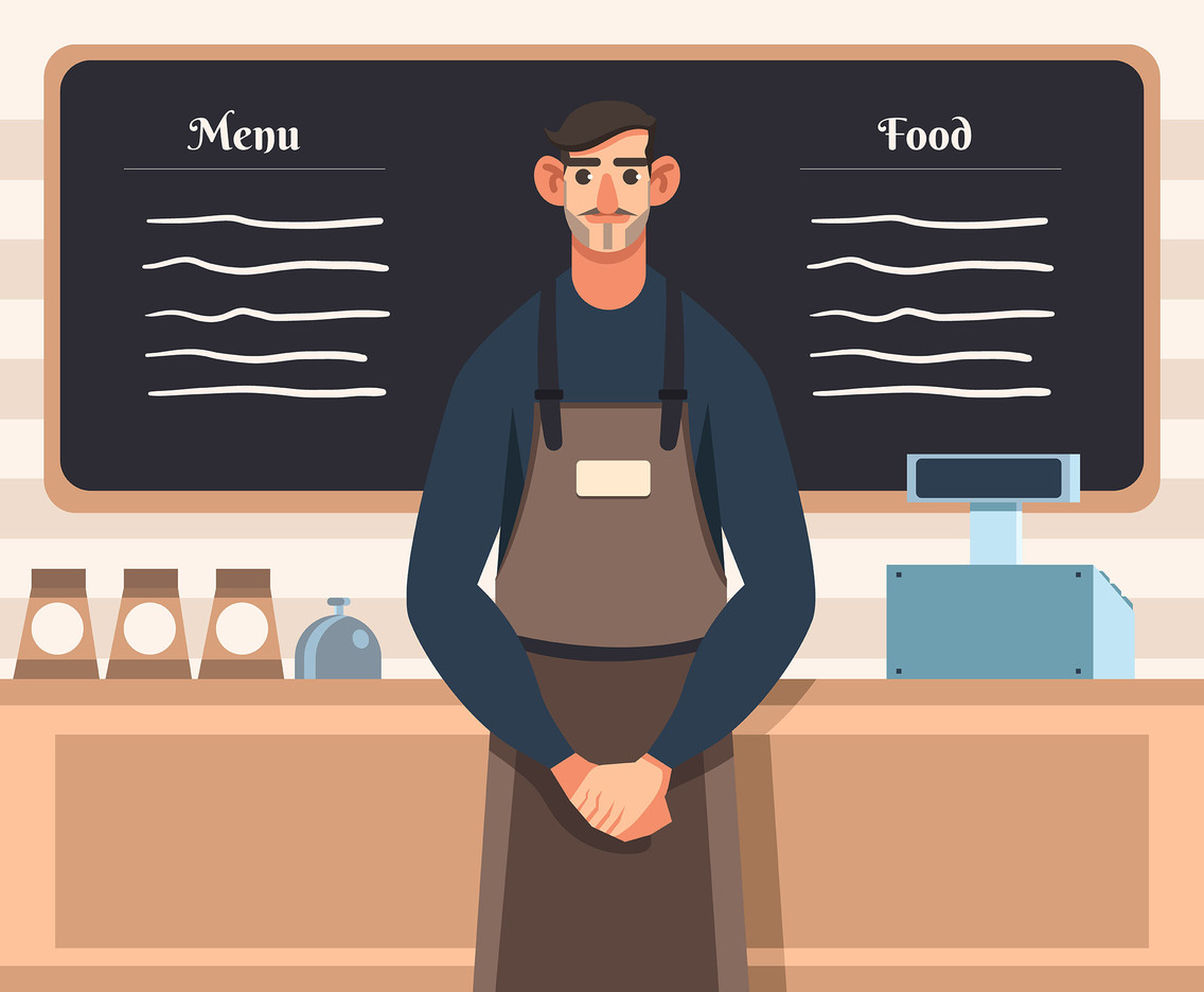 Barista in Apron Vector