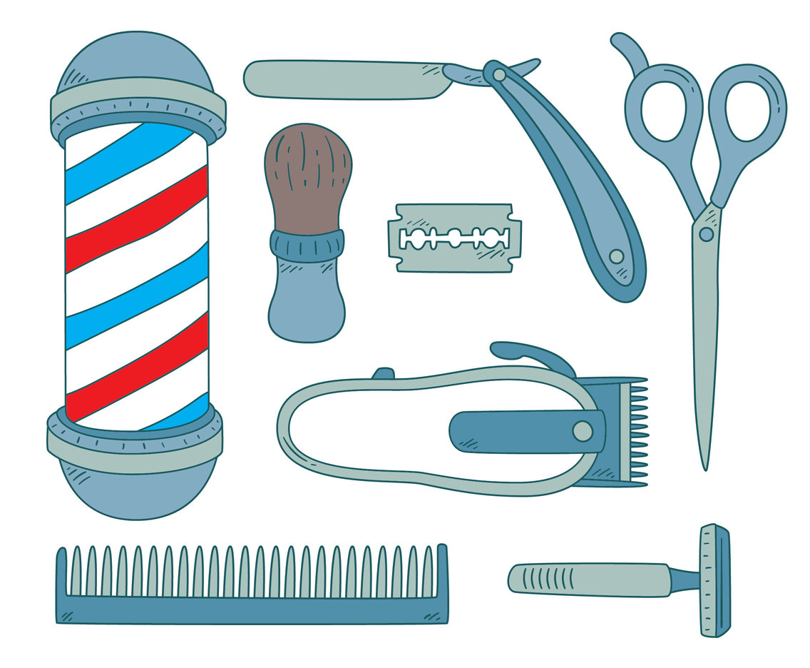 Hand Drawn Barber Shop Element Vector