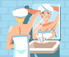Woman Shaving on Sink