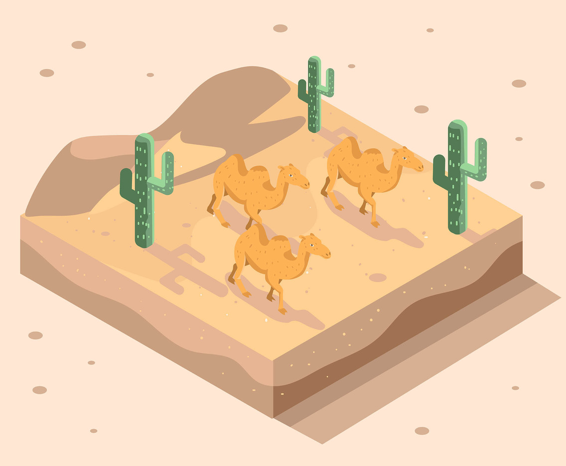Isometric Desert with Camels