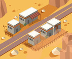 Isometric Desert with Houses