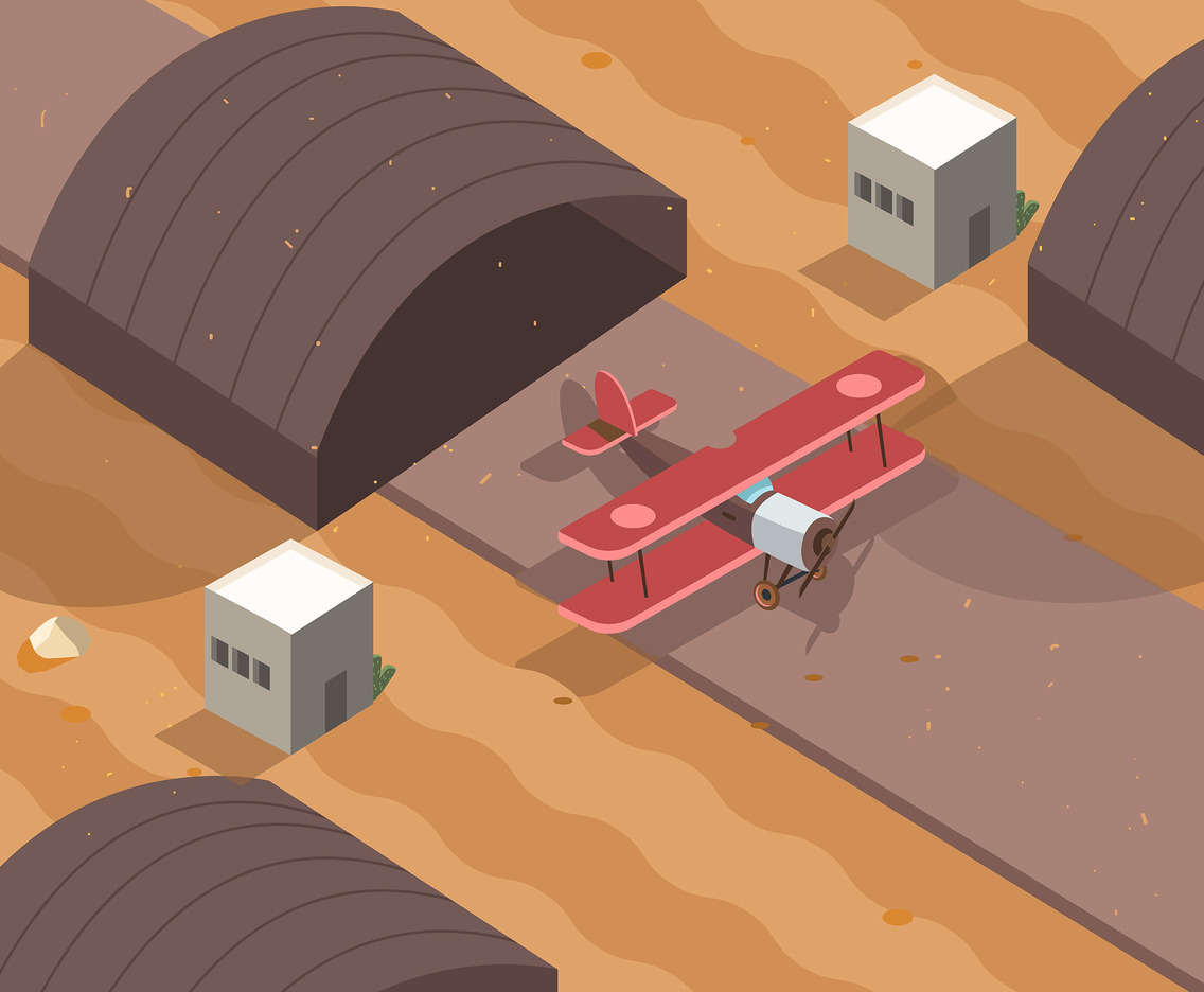 Isometric Desert with Airplane