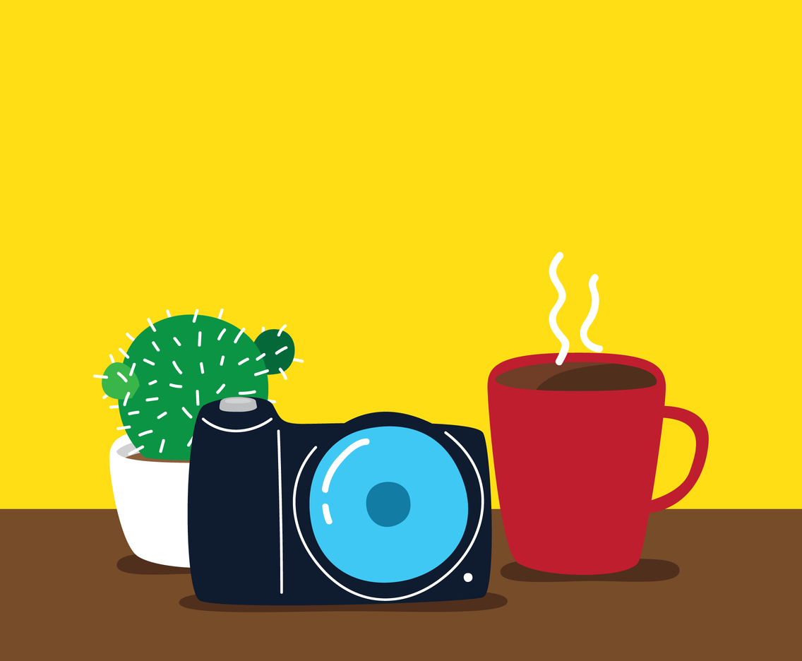 Coffee, Camera, And Cactus Illustration
