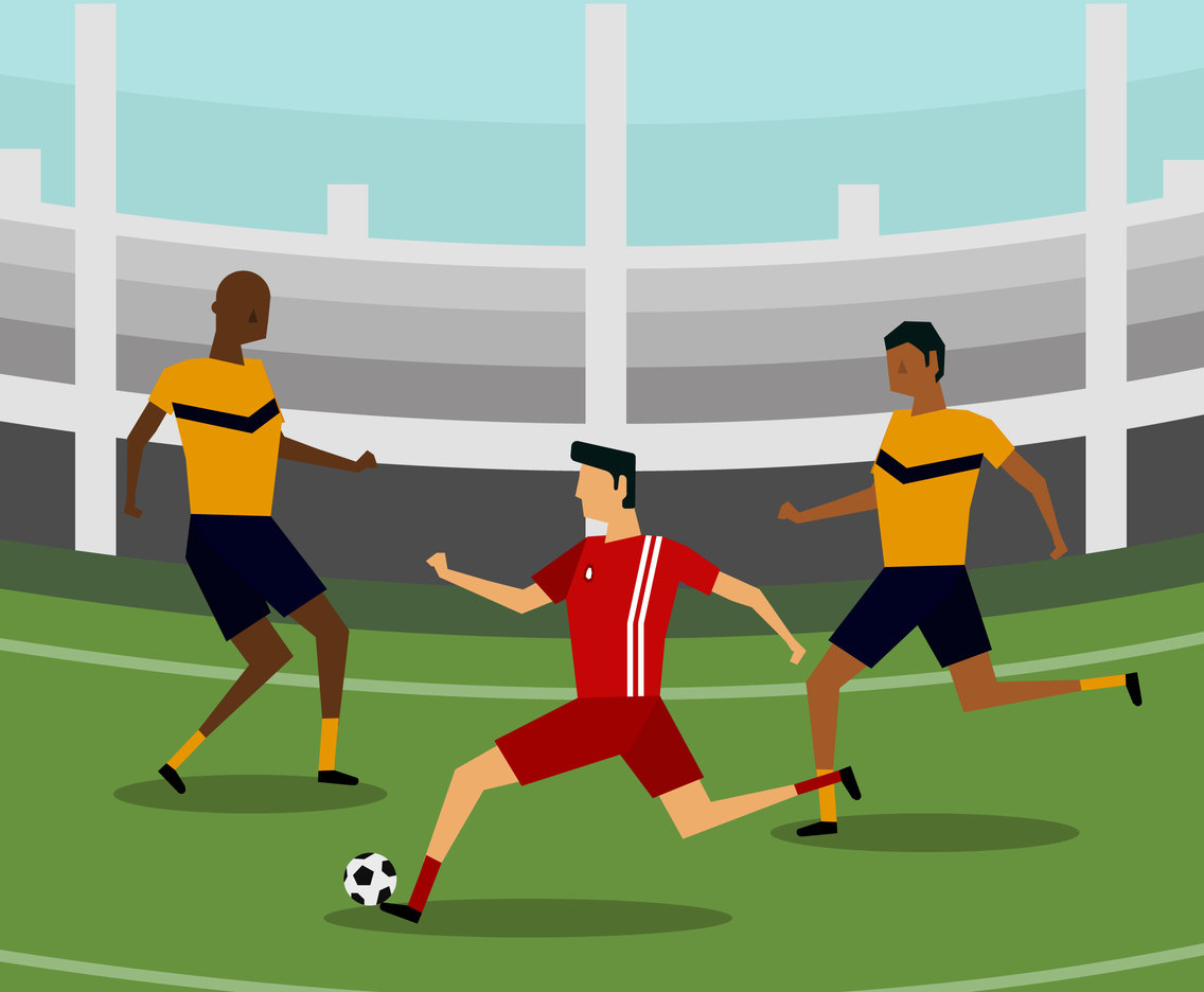 Flat Soccer Players Vector