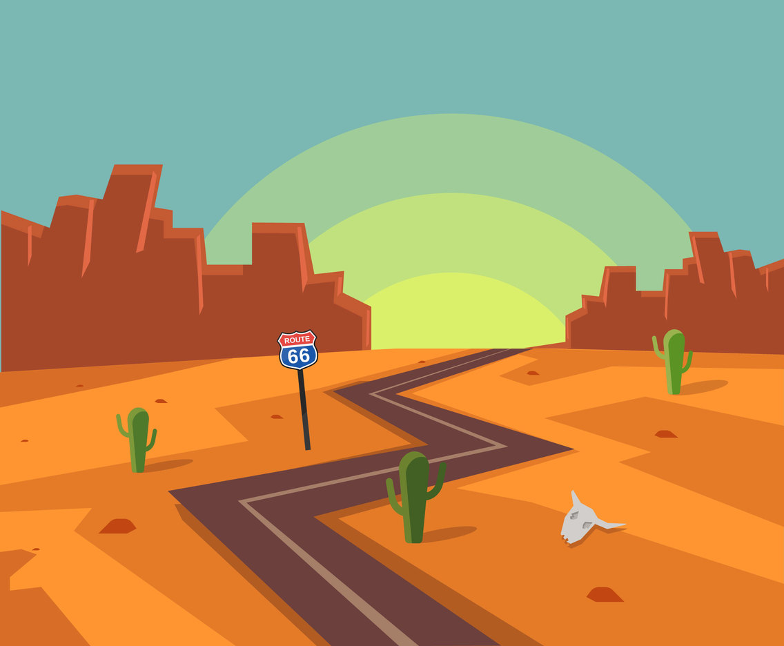 Sunset in Route 66 Vector