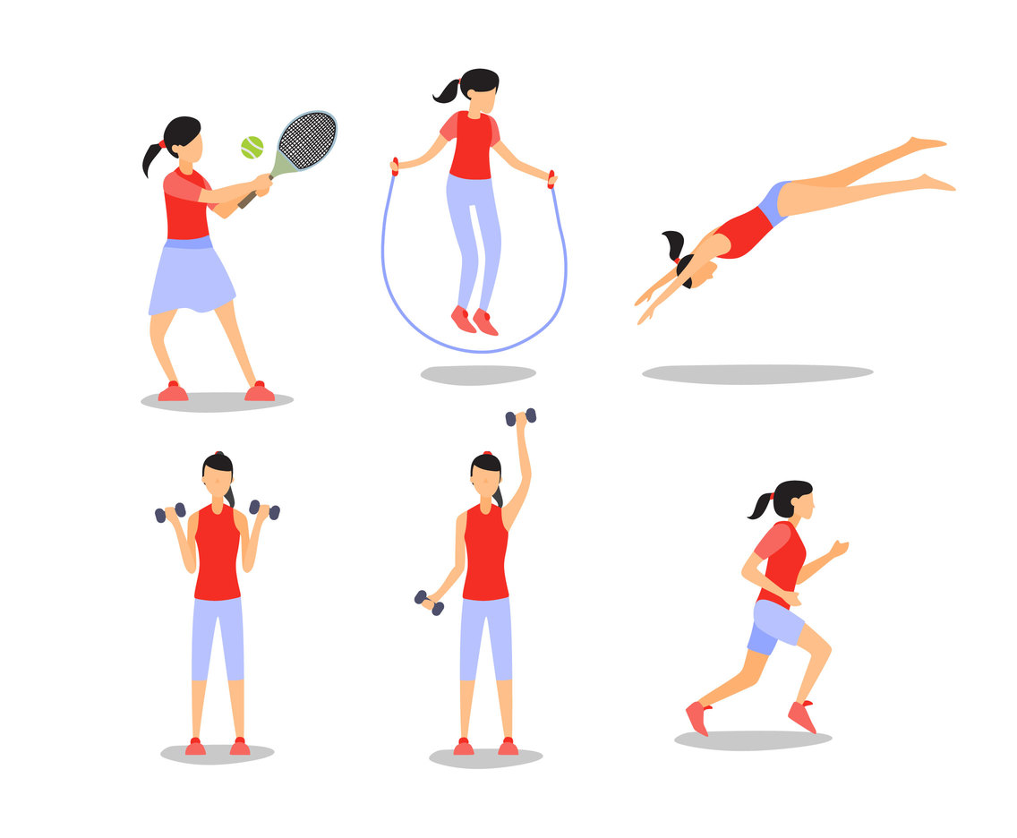 Girls and Sport Activities Vector