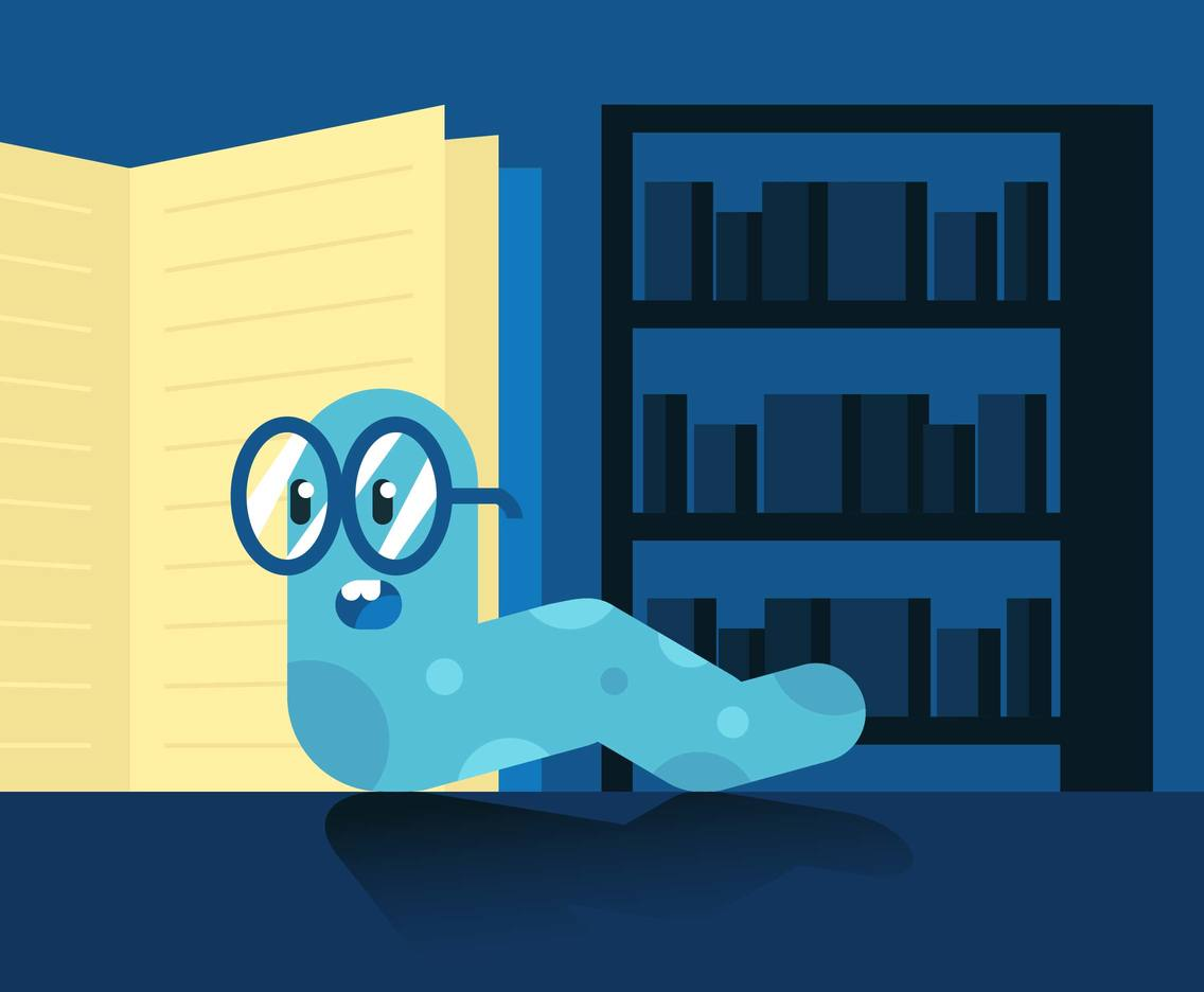 Book Worm Flat Illustration Vector