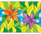 Flower Stained Glass Style Illustration