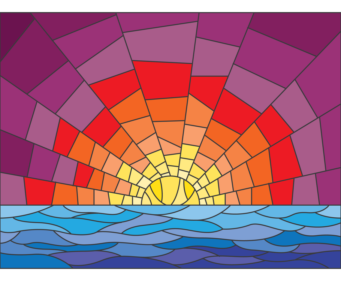Sunset Stained Glass Illustration