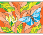 Butterfly And Flower Stained Glass Art