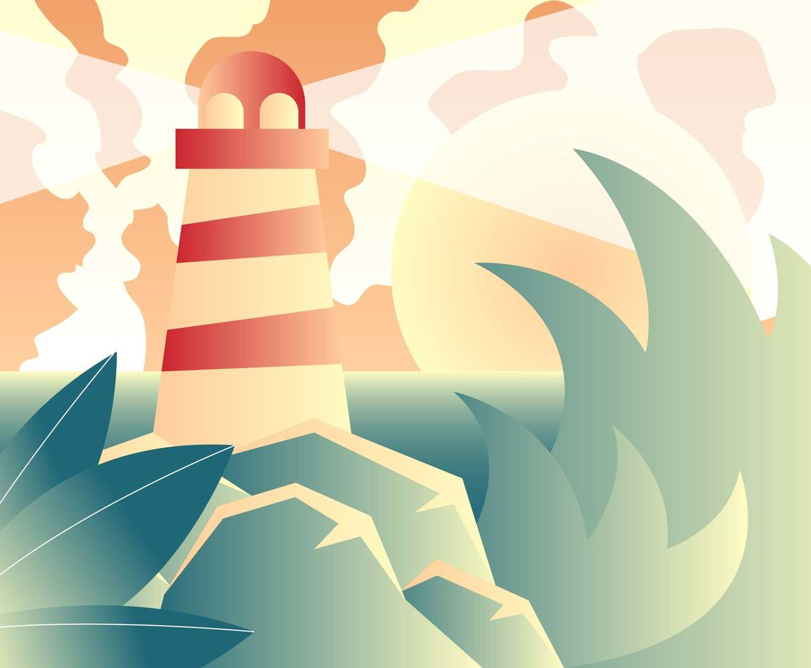 Vintage Lighthouse Landscape Vector