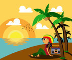 Rasta Man by the Beach Vector