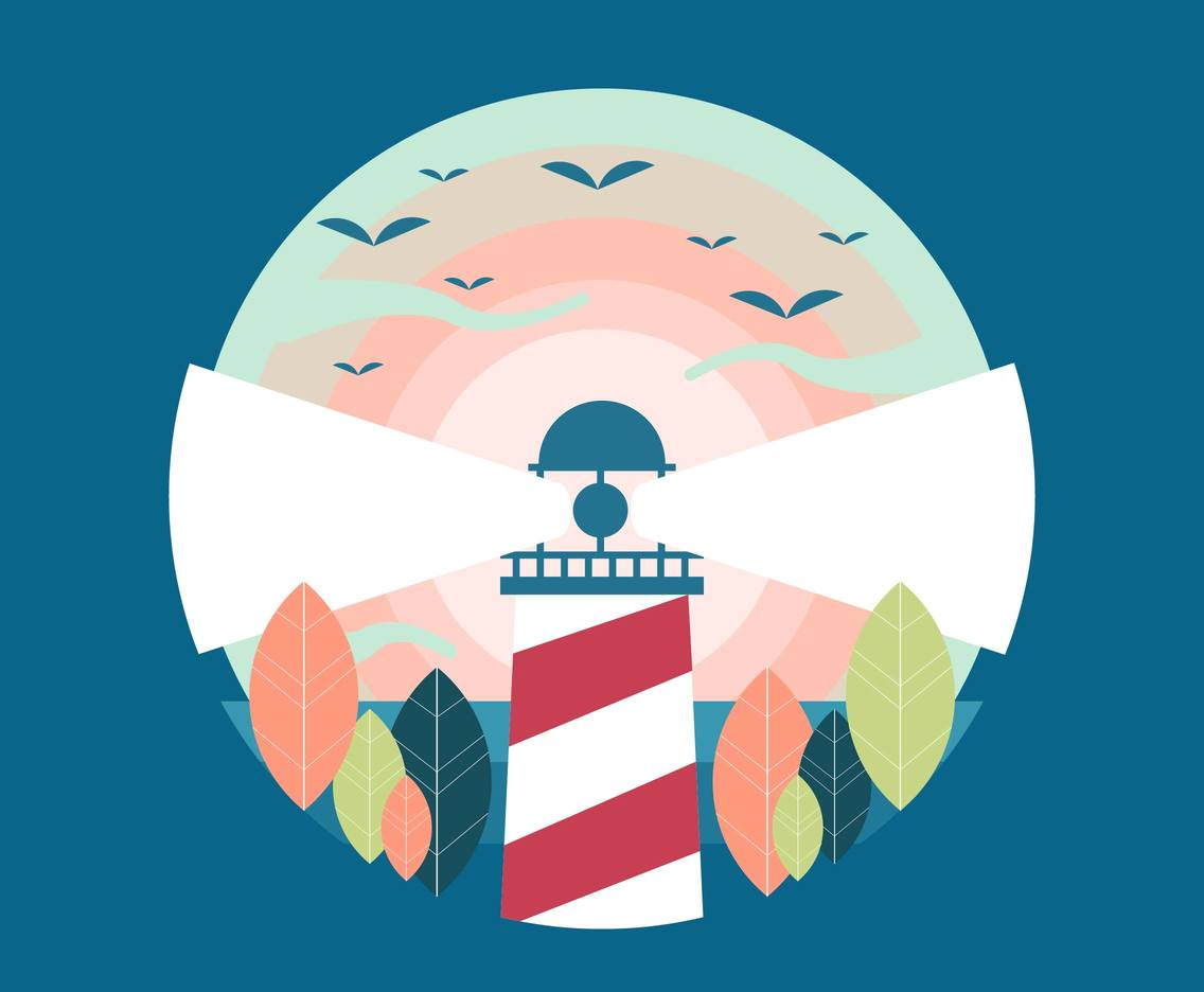 Vintage Lighthouse Landscape Vector 2