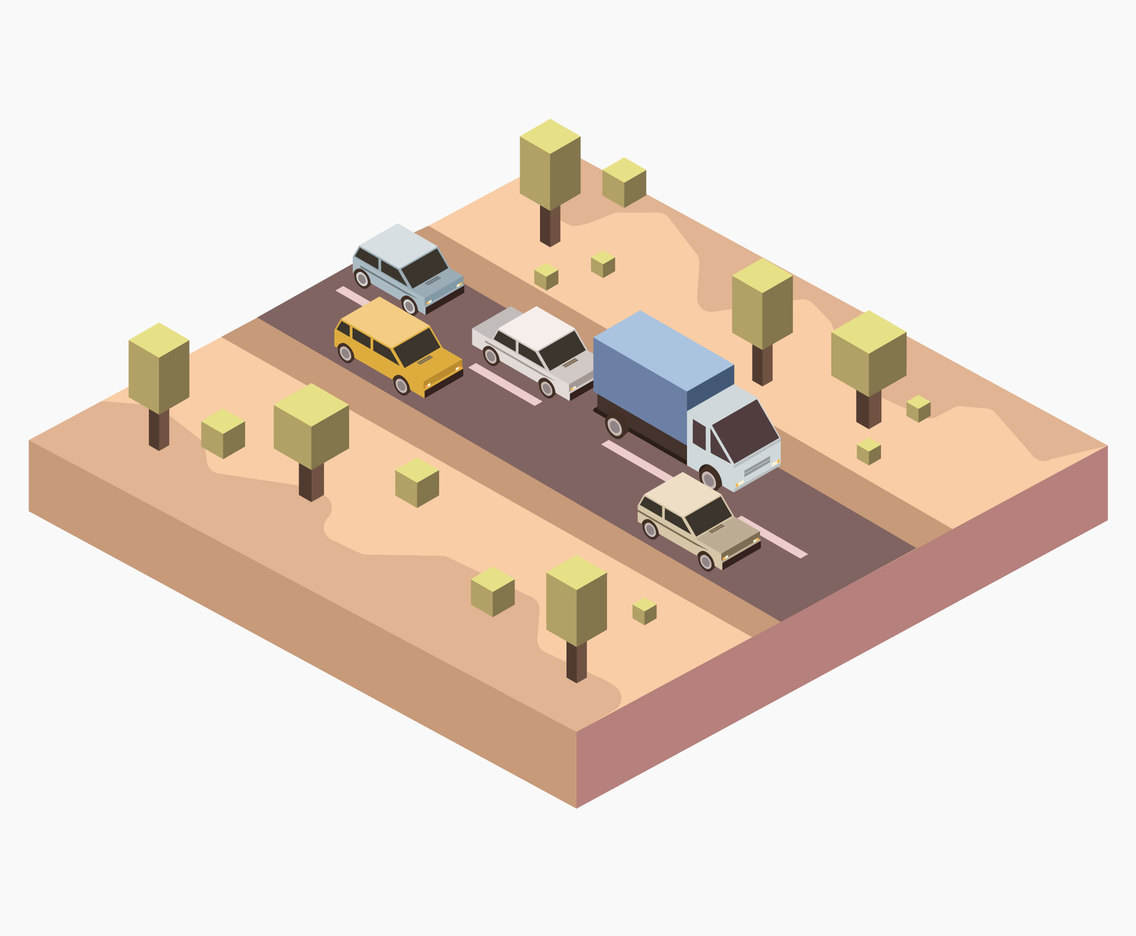 Isometric Desert Road Vector