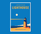 Vintage Lighthouse Landscape Poster