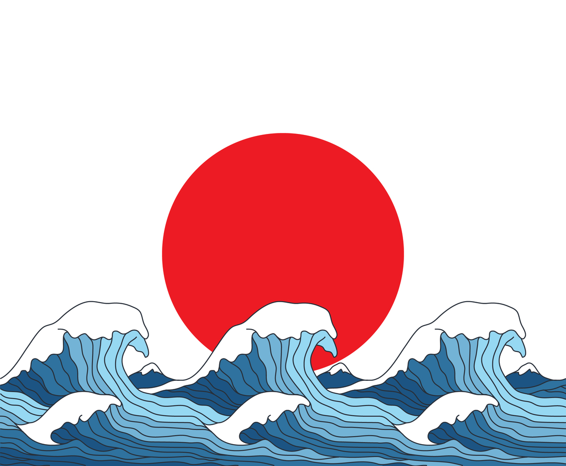 Japanese Flag With Wave Pattern