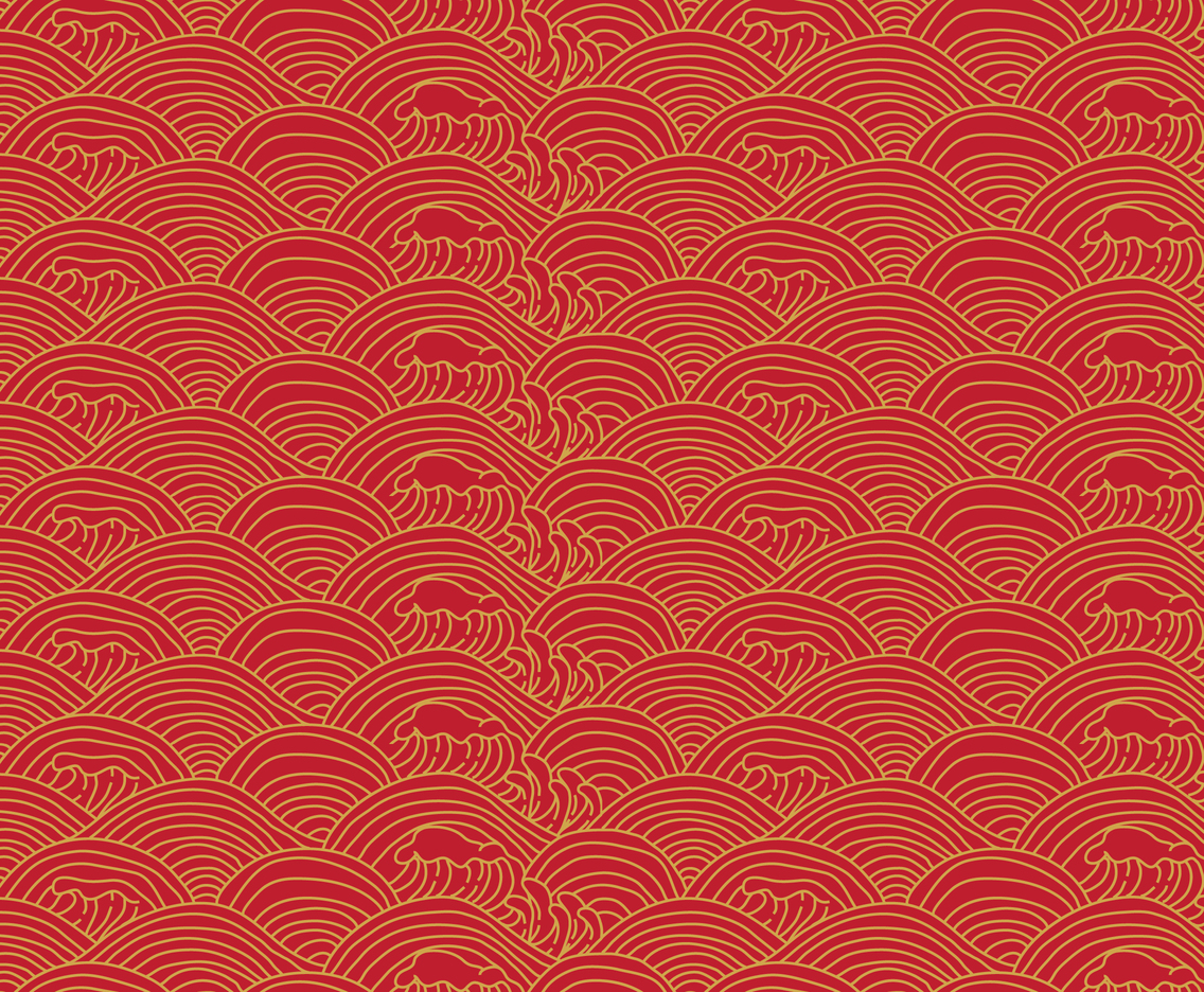 Red And Gold Japanese Wave Pattern