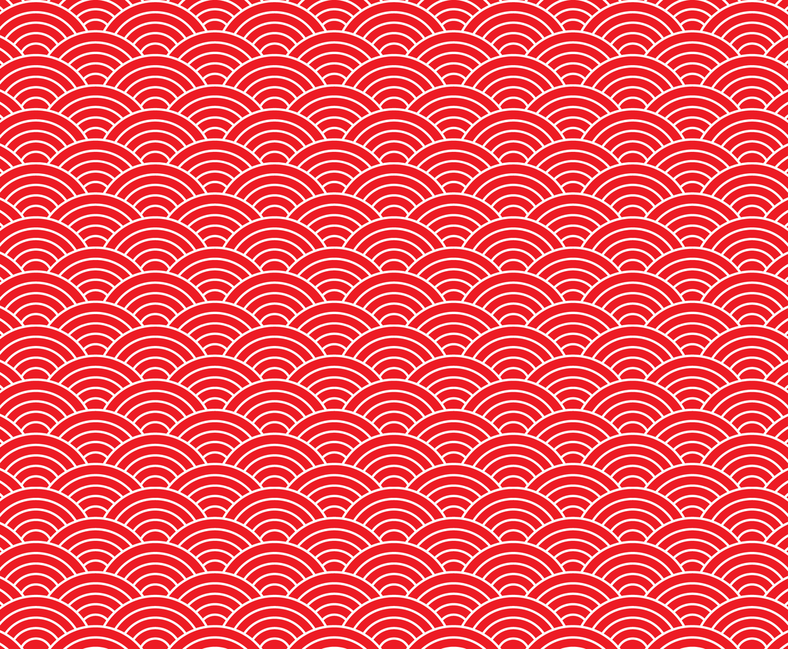 Red Japanese Wave Seamless Pattern