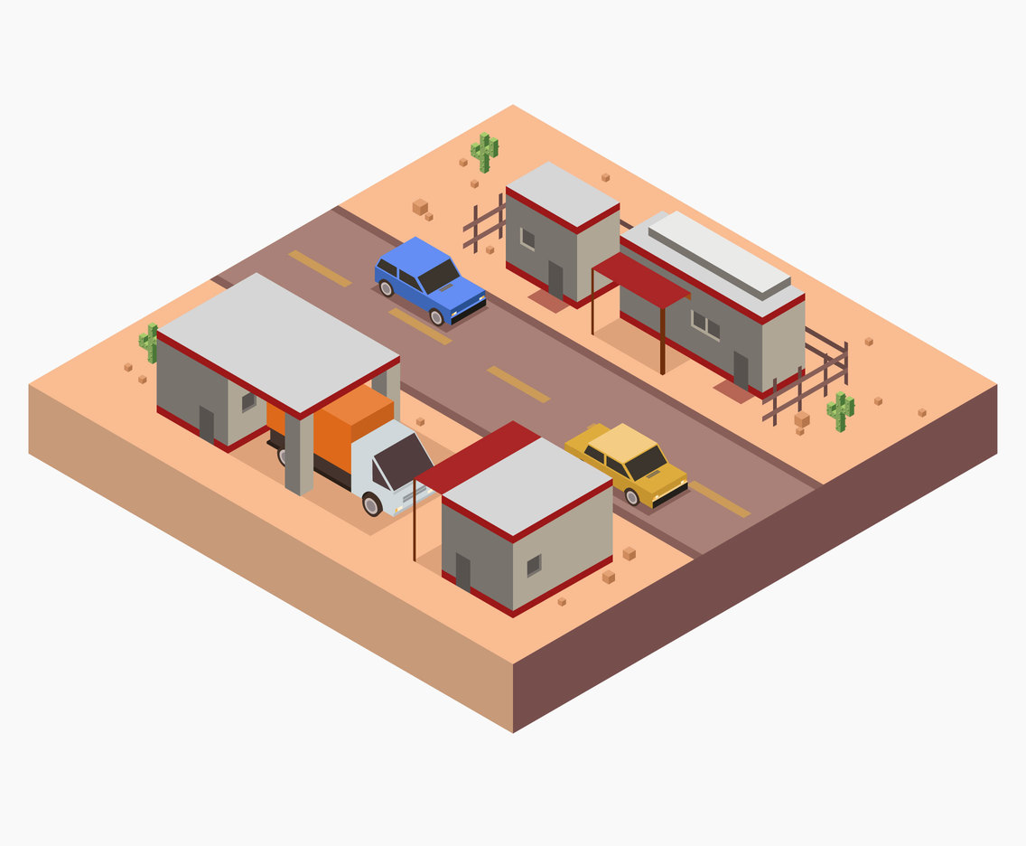 Isometric Gas Station Vector