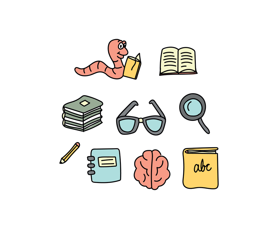Colorful Doodles Of Being A Book Worm