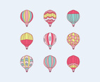 Doodled Colorful Hot Air Balloons