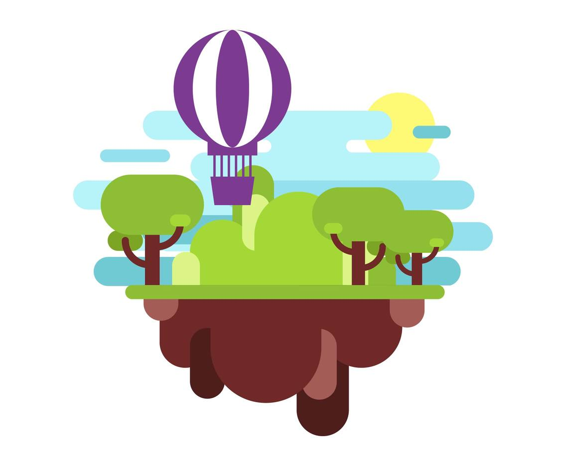 Hot Air Balloon Landscape Flat Illustration Vector