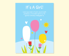 Cute Girls Baby Birth Card