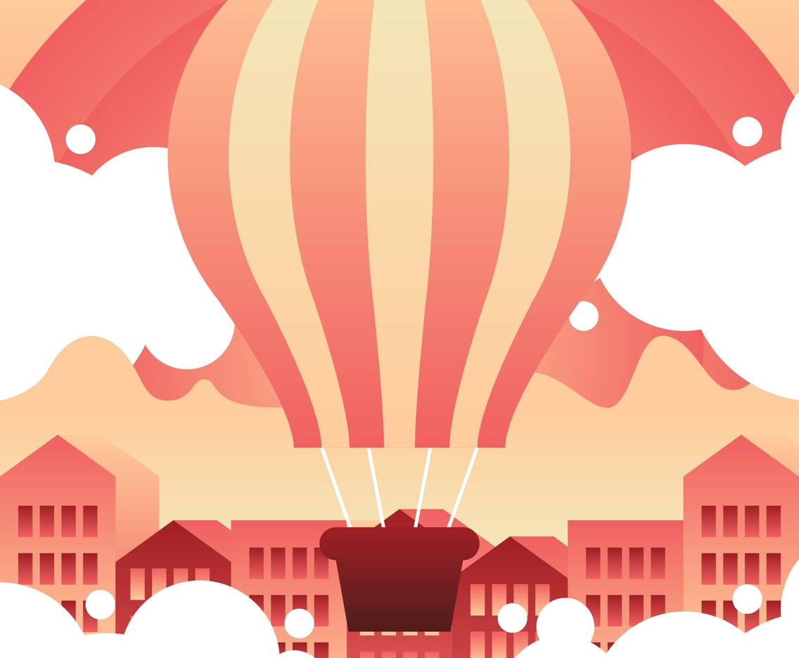 Hot Air Balloon Landscape Flat Illustration Vector 6
