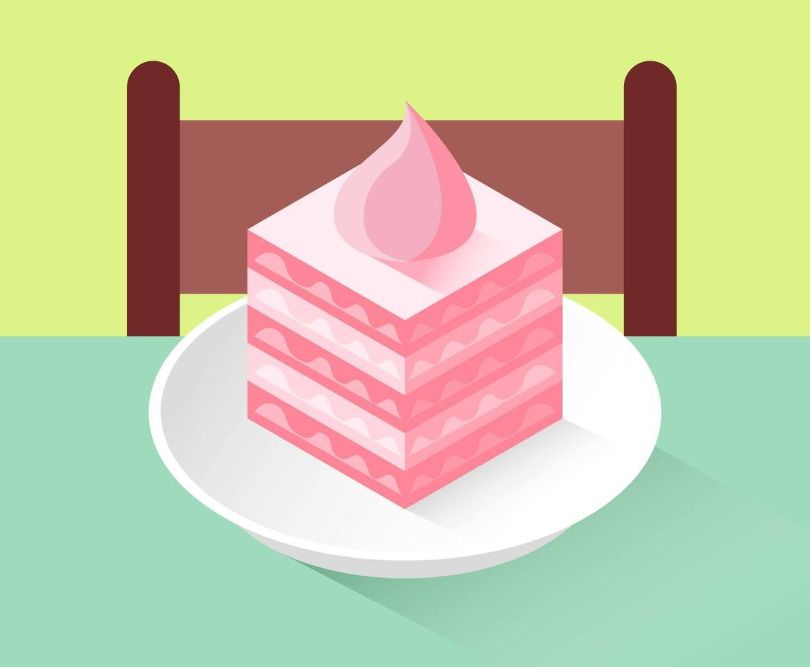 Layer Cake Isometric Illustration Vector