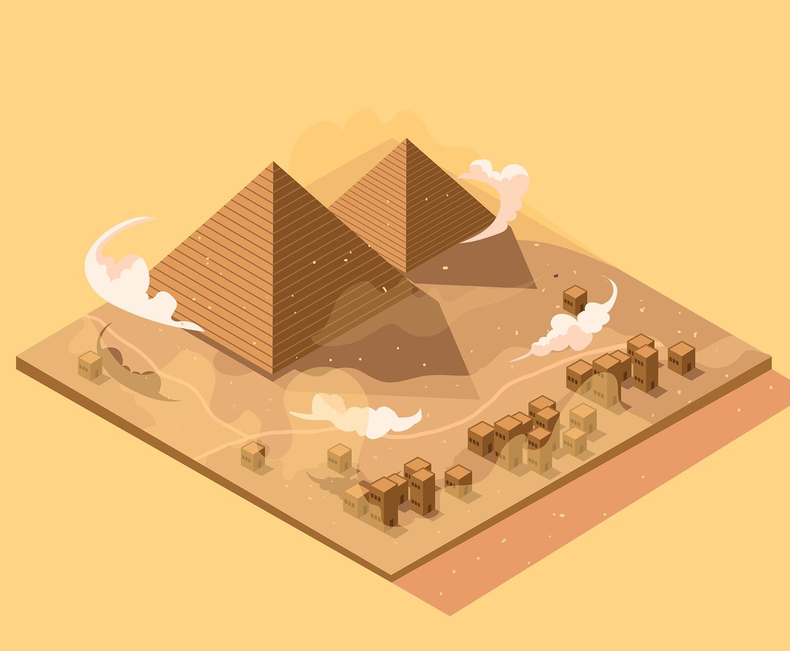 Isometric Desert with Pyramids