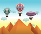 Air Balloons in the Desert Sky Vector
