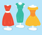 Colorful Polka Dot Dress Vector