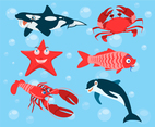 Cartoon Sea Animals Vector