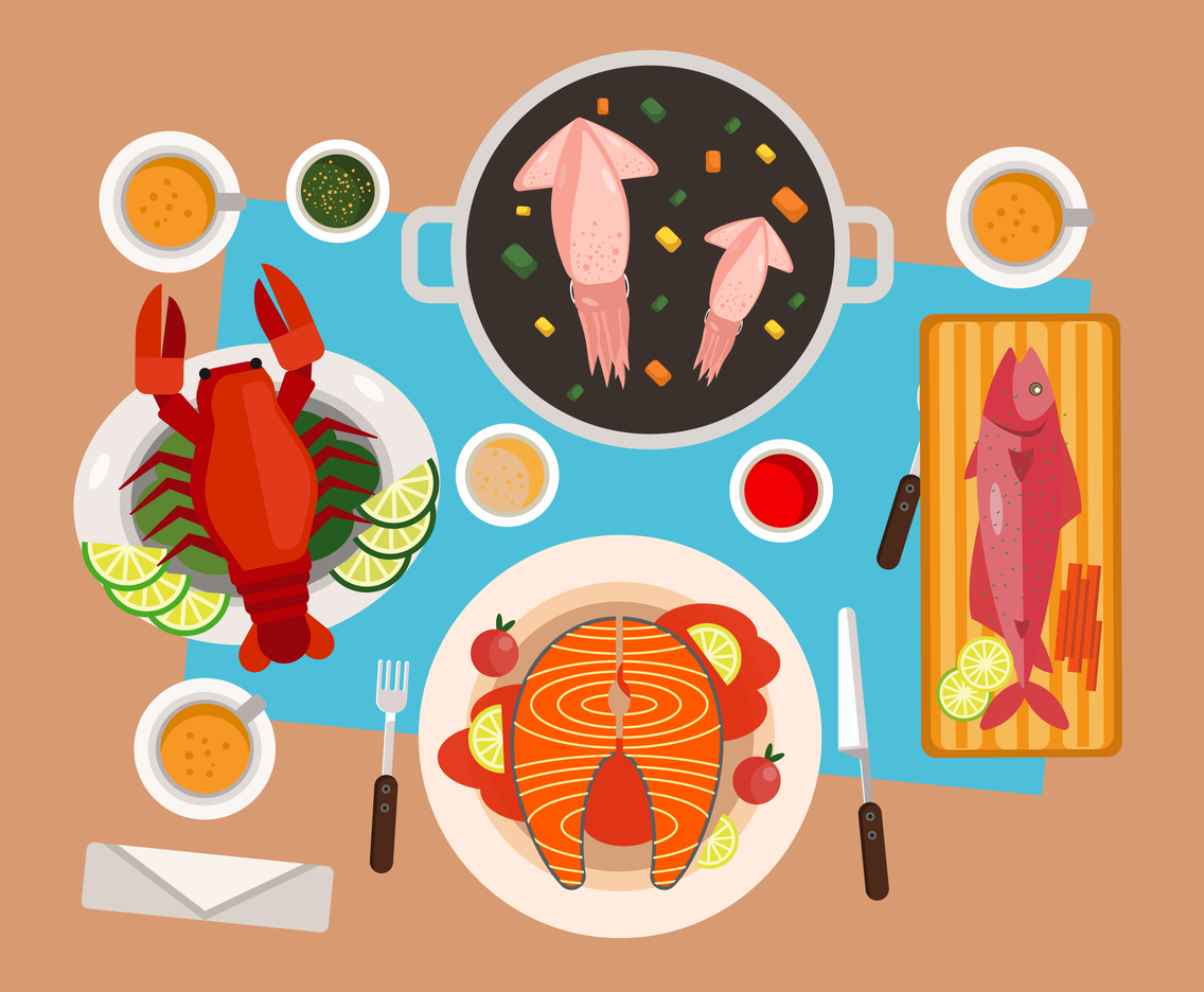 Seafood Dishes  Vector