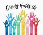 Colorful Caring Hands Up