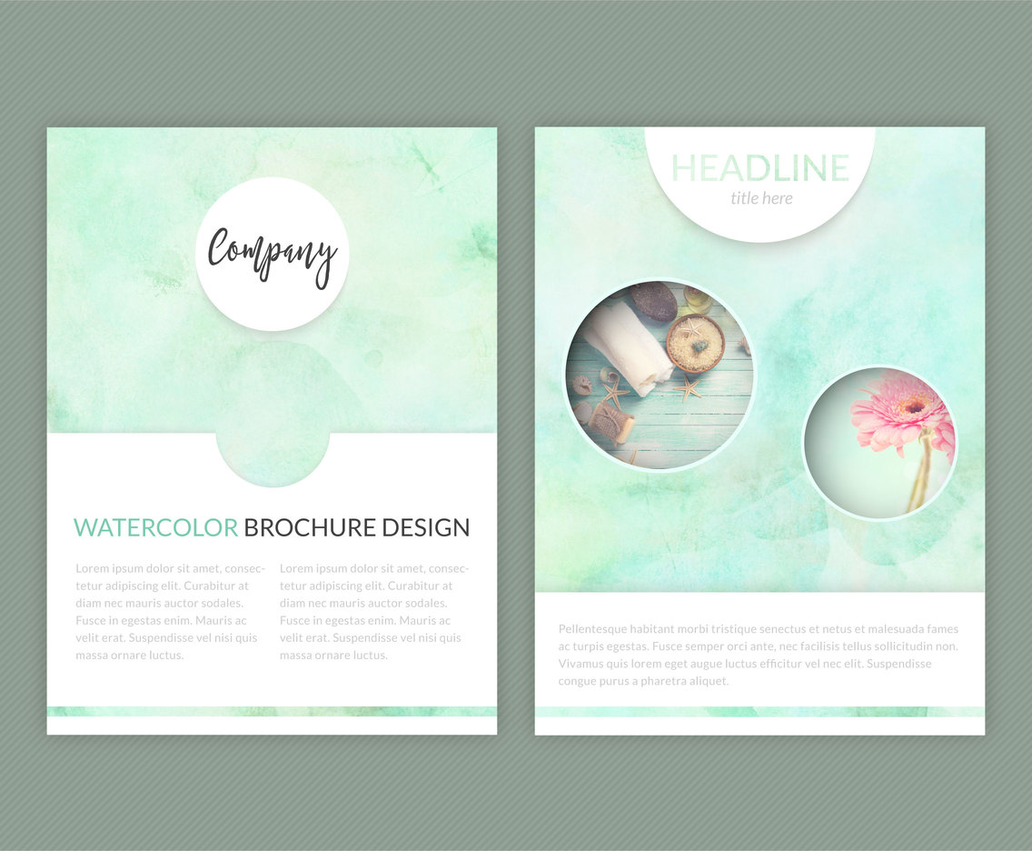 Watercolor Brochure Vector Template