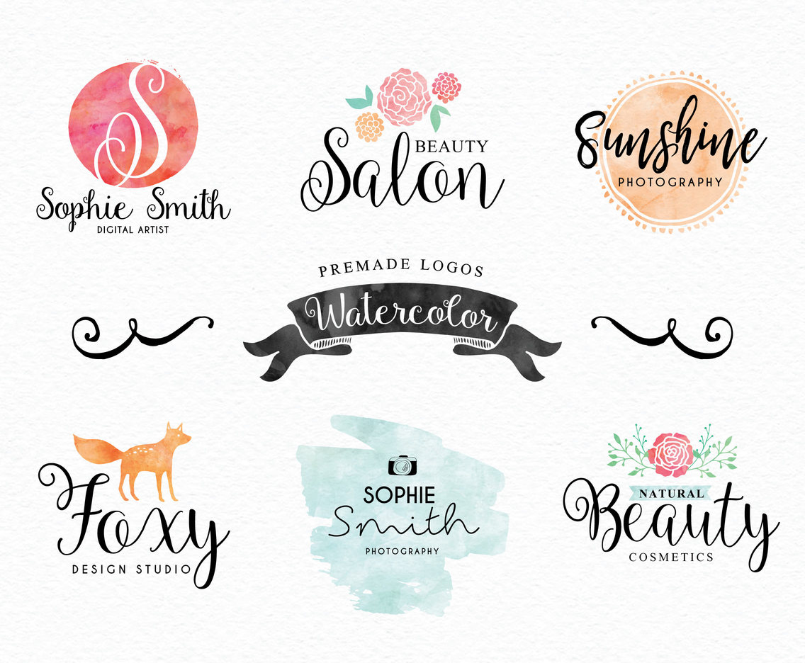Watercolor Hand Drawn Premade Logos