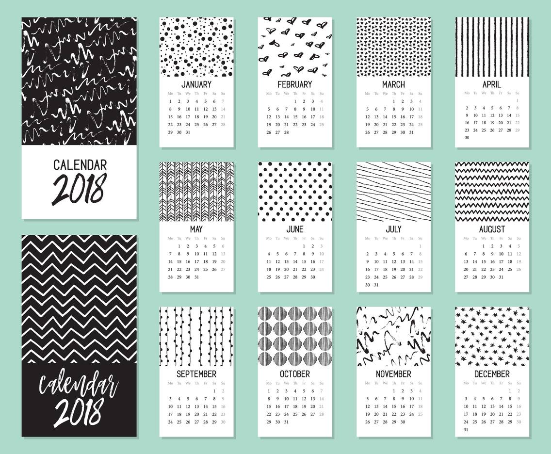 Calendar 2018 Hand Drawn Vector Template