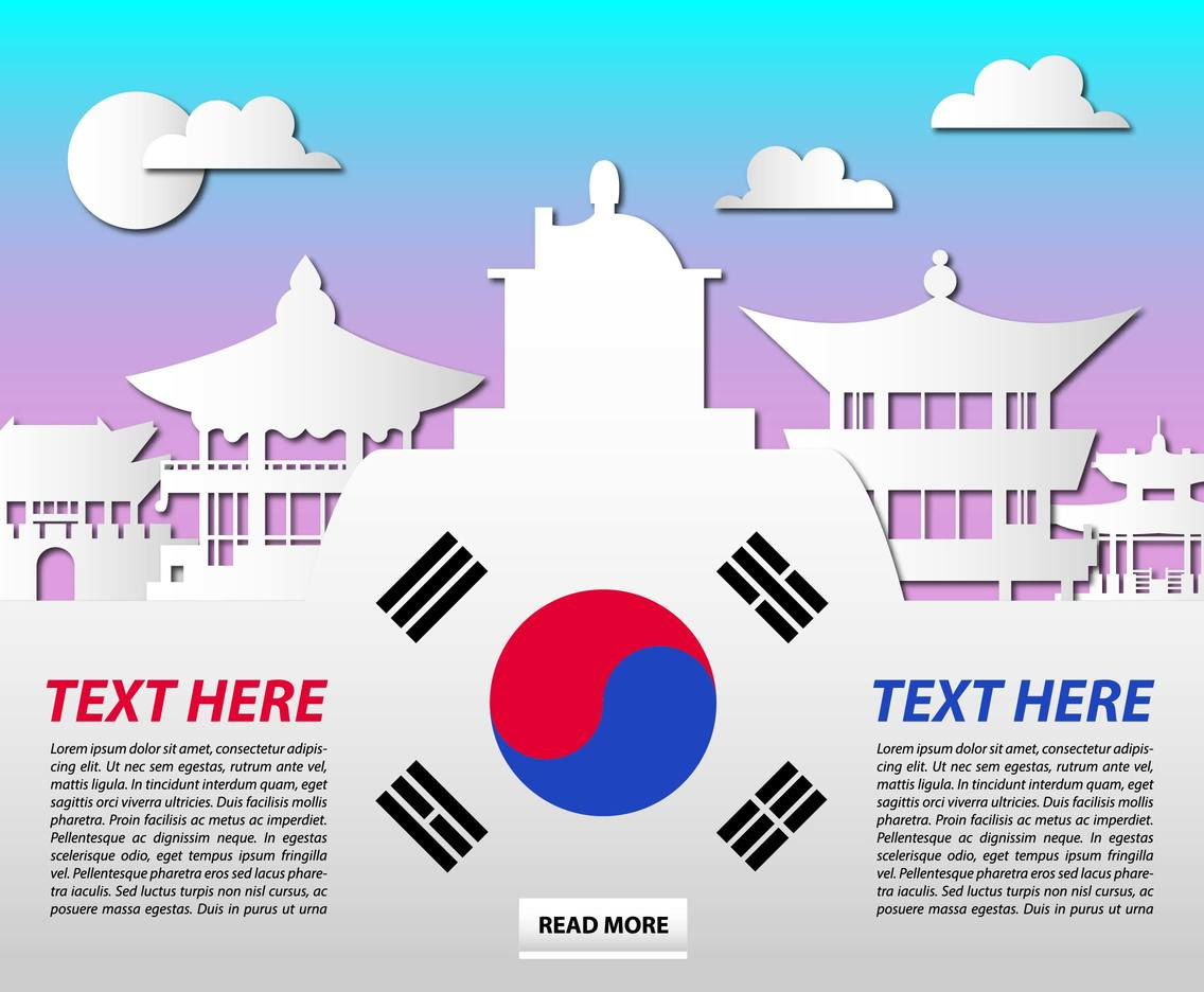 South Korea Monuments Cultural Template Vector