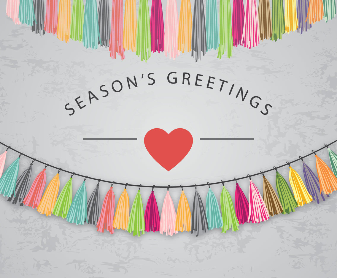 Season's Greeting Card with Tassel Vector