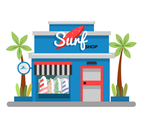 Blue Surf Shop Vector