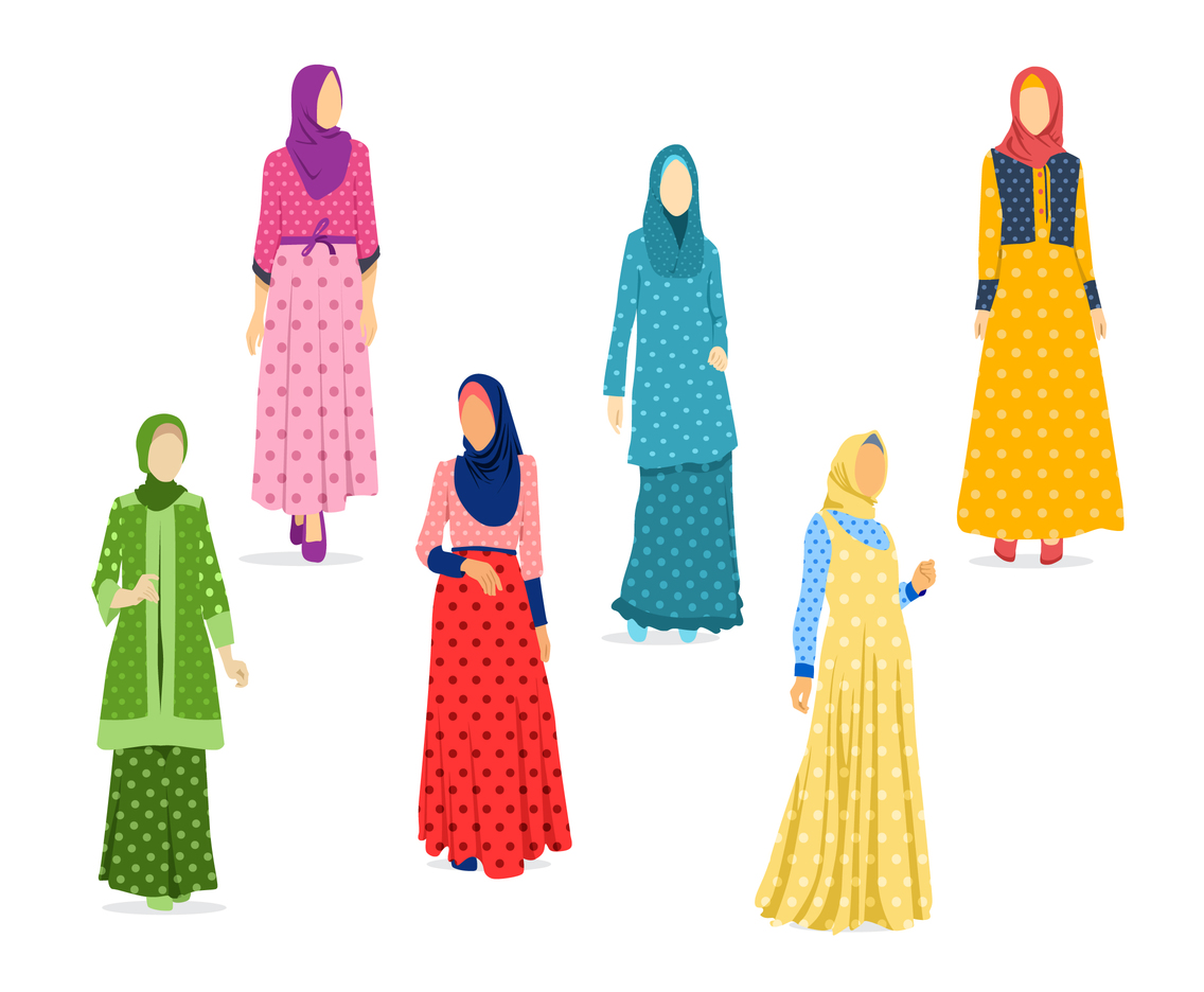 Polka dot Abaya and Dress Vector
