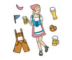 German Lady With Lots Of Oktoberfest Elements
